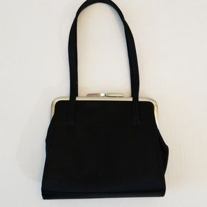 Ann Taylor Black Satin Evening Bag